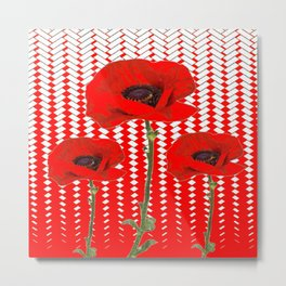 RED ON RED POPPIES ART Metal Print