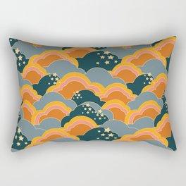 Retro 70s Inspired Boho Clouds Rectangular Pillow