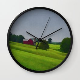 Pure Country Red Barn Art Poster Wall Clock
