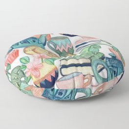 Lazy Afternoon - a chalk pastel illustration pattern Floor Pillow