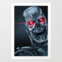 terminator Art Prints featuring Terminator by LynxArtCollection
