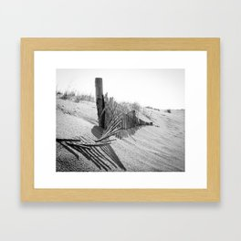 High Key Beach Sand Dunes and Fencing, Coastal Black and White  Landscape Photo Framed Art Print