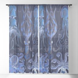 Haeckel Octopi Sheer Curtain