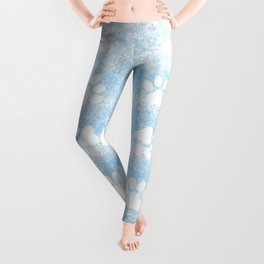 Puppy Paw Print Blue Abstract Leggings