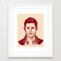 winchester Framed Art Prints featuring Dean Winchester by Maria G. Vieyra Ortiz