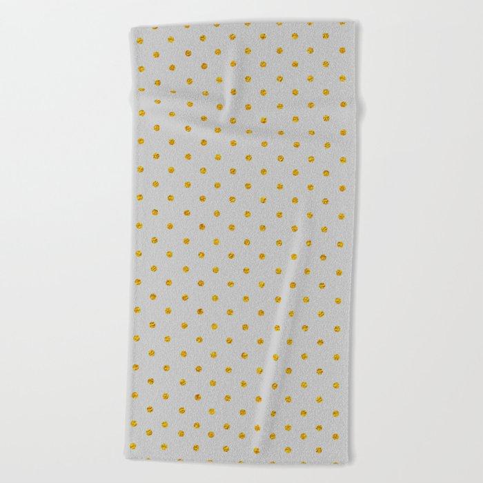Gold Polka dot dance on grey Beach Towel