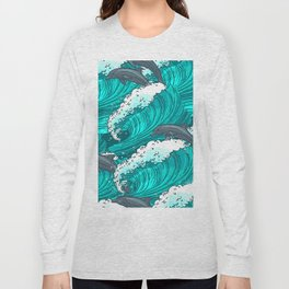 Sea waves seamless pattern Long Sleeve T-shirt