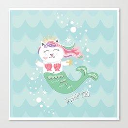 Purrmaid, Cat Mermaid Princess Canvas Print