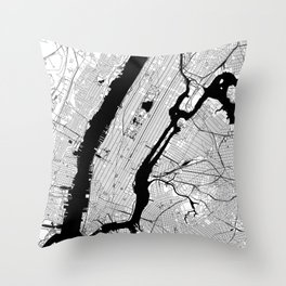 New York City Black and White Map Throw Pillow