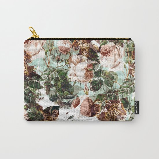 Floral and Leopard Pattern Carry-All Pouch
