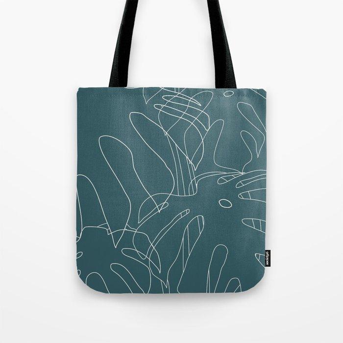 Monstera No2 Teal Tote Bag