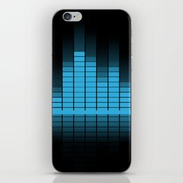 Cool Blue Graphic Equalizer Music on black iPhone Skin