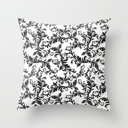 Vintage stylish black white elegant floral damask Throw Pillow