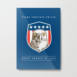Independence Day Greeting Card-American Bald Eagle Head Stars Shield Metal Print
