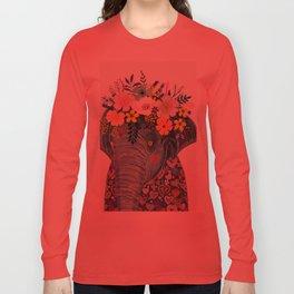 Elephant with flowers on head Long Sleeve T-shirt