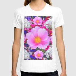 MODERN ART FUCHSIA ROSES  WHITE FLORAL GARDEN T-shirt