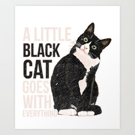 A Little Black Cat Flower Graphic Tee Art Print