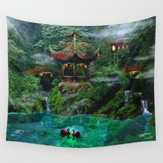 Tale of the Red Swans Wall Tapestry