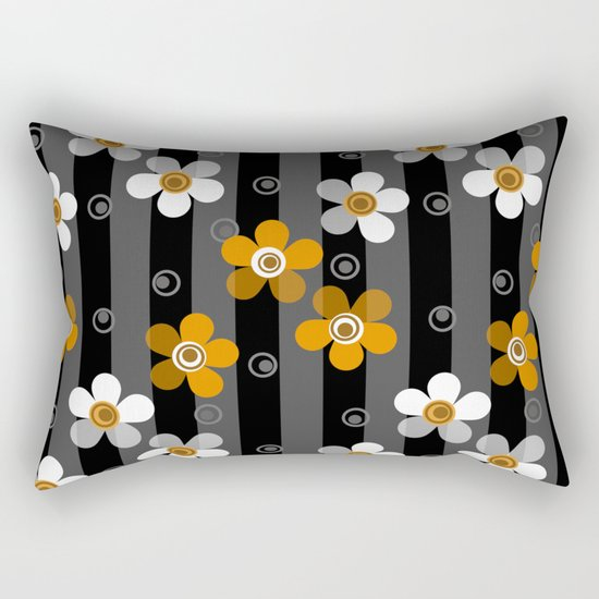 Black and yellow floral pattern on a striped background . Rectangular Pillow
