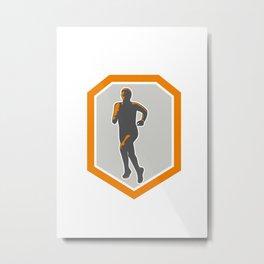 Marathon Runner Running Front Shield Retro Metal Print