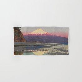 Fujiyama from Okitsu Views of Mount Fuji Vintage Beautiful Japanese Woodblock Print Hiroshi Yoshida Hand & Bath Towel