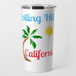 Rolling Hills California Palm Tree and Sun Travel Mug