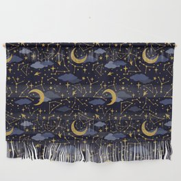 Celestial Stars and Moons in Gold and Dark Blue Wall Hanging