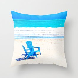 Chairs on the Beach Throw Pillow