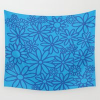 leah flores Wall Tapestries featuring flores azules by Maritserg