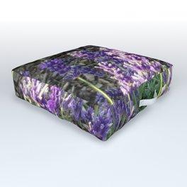 Bumblebee 10 on lavender ahem honey bee actually Outdoor Floor Cushion