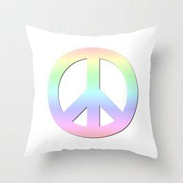 CND Peace Symbol Soft Pastel Rainbow Throw Pillow