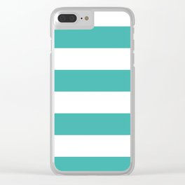 Wide Horizontal Stripes - White and Verdigris Clear iPhone Case