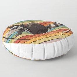 Racoon Retro Floor Pillow