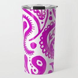 Handpainted Paisley Pattern Pink Color Travel Mug