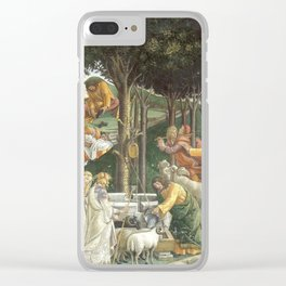 "Sandro Botticelli ""Youth of Moses"", Sistine Chapel. Clear iPhone Case"