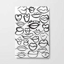 Sketchy Lips Metal Print