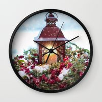 merry christmas Wall Clocks featuring Merry Christmas by UtArt