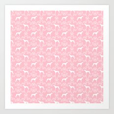 Greyhound floral silhouette pink and white minimal dog silhouette dog breed pattern Art Print