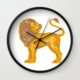Angry Lion Big Cat Roaring Drawing Wall Clock