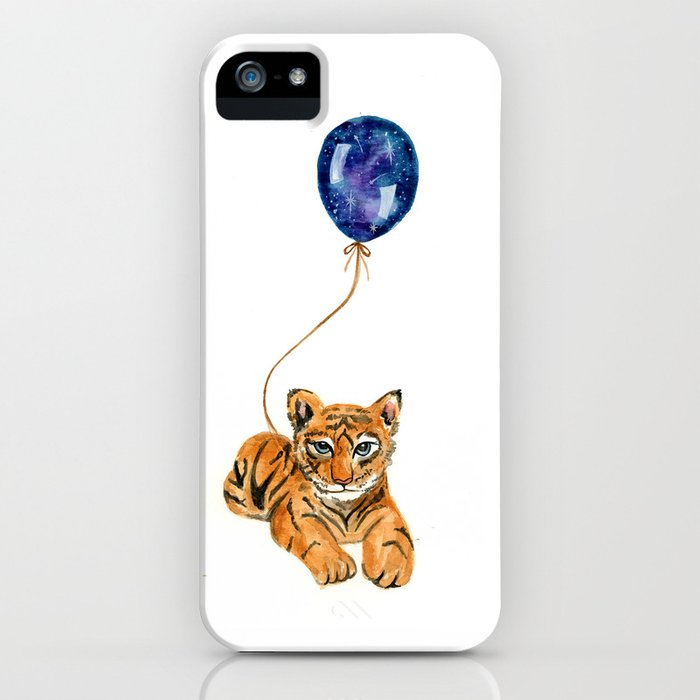 flying baby tiger watercolor painting  iPhone Case