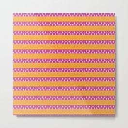 Tangerine-Rose-Stripe Metal Print
