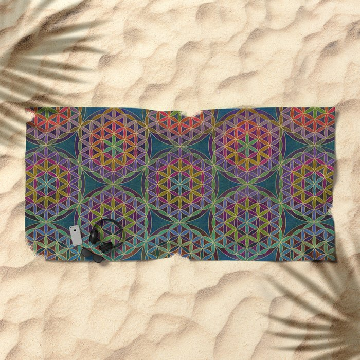 The Flower of Life (Sacred Geometry) 5 Beach Towel