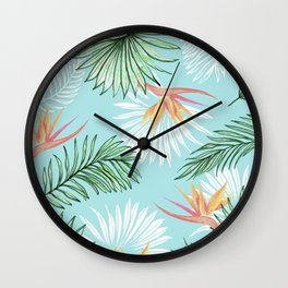 Tropic Palm, Bird of Paradise Pastel Colorful Botanical Illustration, Tropical Bohemian Jungle Wall Clock