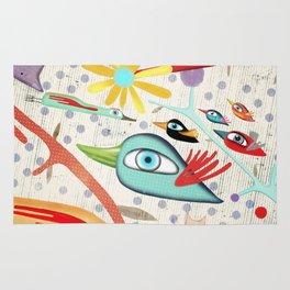Cat and Birds Illustration 2016 Rug