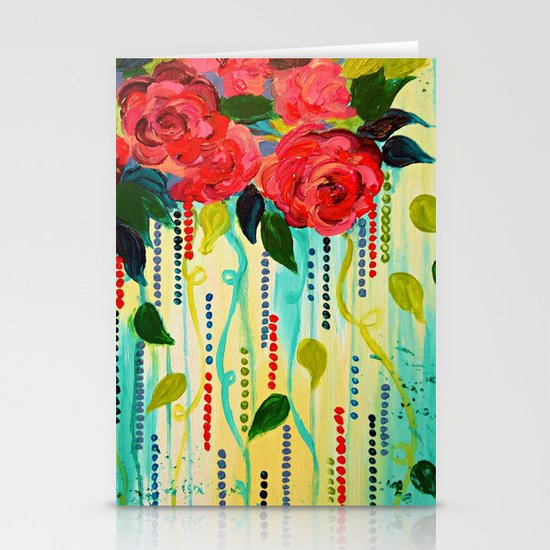 ROSE RAGE Stunning Summer Floral Abstract Flower Bouquet Feminine Pink Turquoise Lime Nature Art Stationery Cards