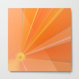 Abstract Golden Sun Flower Metal Print