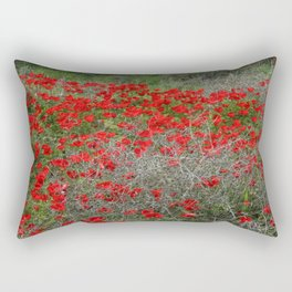 Beautiful Red Wild Anemone Flowers In A Spring Field  Rectangular Pillow