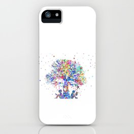 Kids reading under tree iPhone Case