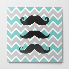 Mustache in Black white and  turquoise chevron Metal Print
