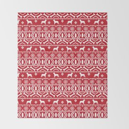 English Springer Spaniel fair isle christmas dog breed red and white pet art gifts Throw Blanket